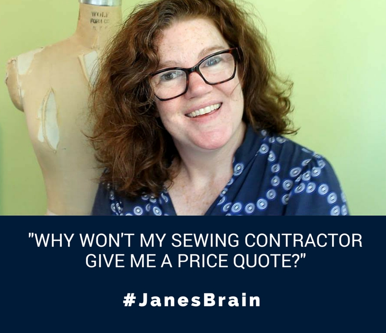 Get Price Quote My Car: #AskJanesBrain: Why Won't My Sewing Factory Give Me A
