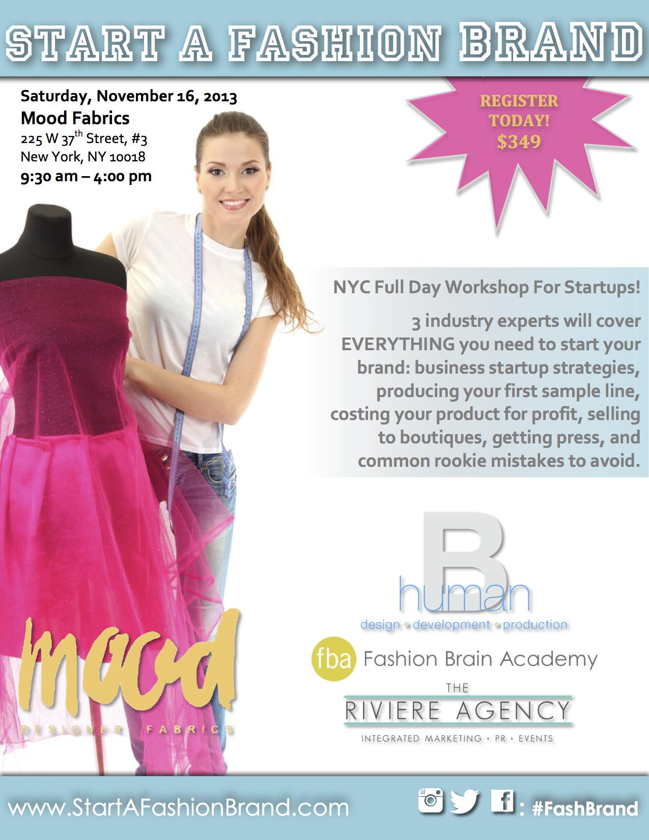 Mood Fabrics Is Hosting A Great Workshop Start A Fashion Brand Fashion Brain Academy
