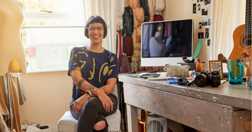 creative entrepreneur in her studio
